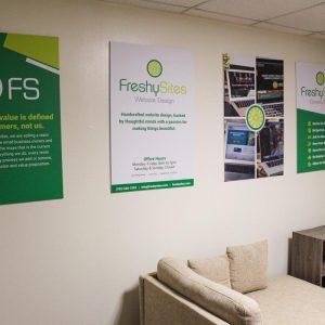 FreshySites posters in Alexandria, VA office