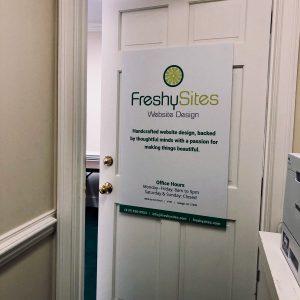 FreshySites door in Raleigh, NC office