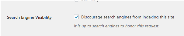 Screenshot of Search Engine Visibility in WordPress settings